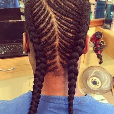 Cool Long Cornrows Hairstyle with Braids For Men