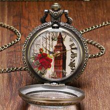 Винтаж Высокое Качество Стекла Прозрачная Крышка Лондон Башня Биг Бен Карманные Часы Элегантные Женские Часы Подарок P967(China (Mainland))