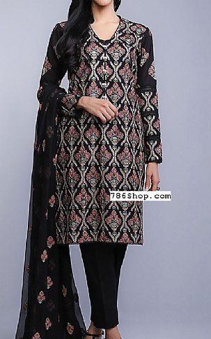 Black Karandi Lawn Suit | Buy Bareeze Pakistani Dresses and Clothing online in USA, UK
