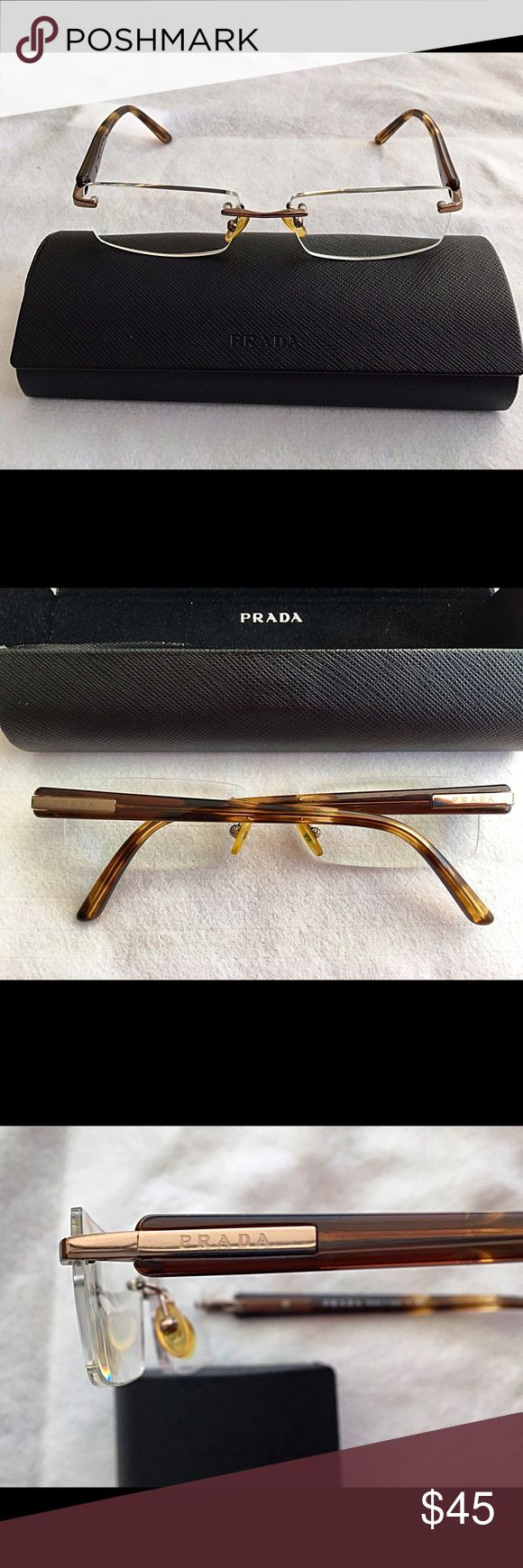 % Authentic Prada Rimless Eyeglass Frames! Rimless Prada women's eyeglass frames with tortoise shell temples. gently used with no visible signs of wear! Prada case has some signs of wear from use as seen on the photos. Prada Accessories Glasses