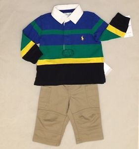 Ralph Lauren Baby Boy 2 Pc Casual Dress Outfit Size 6 Months Polo Rugby Khakis