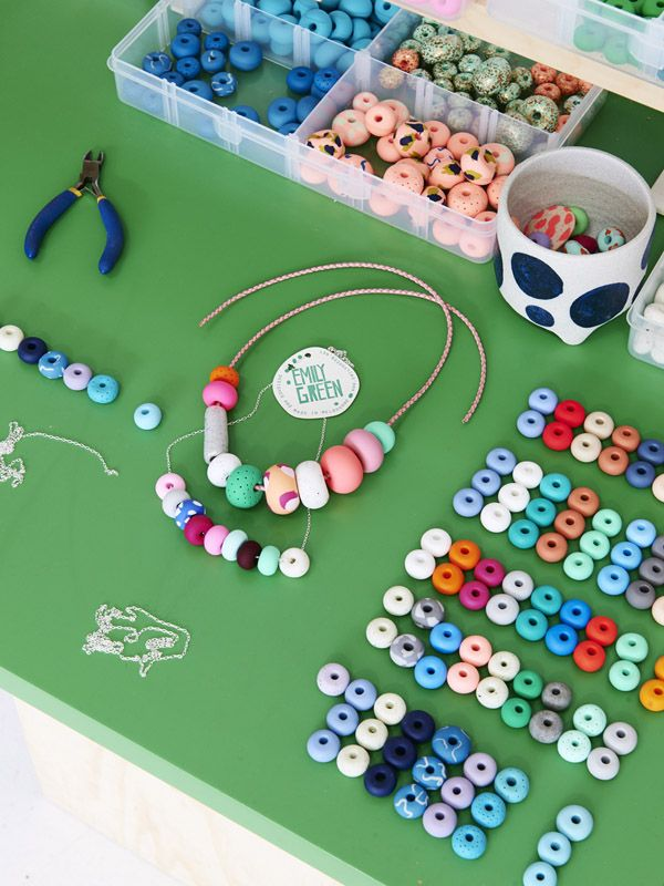 Incredible handcrafted beads and necklaces by Emily Green. Photo - Eve Wilson. Production- Lucy Feagins for thedesignfiles.net
