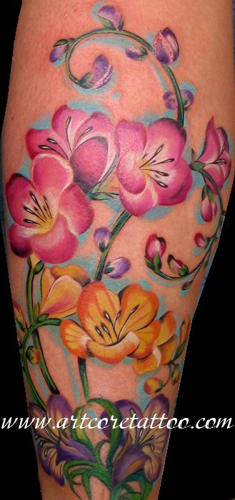Flower tattoo - love how the colors pop!