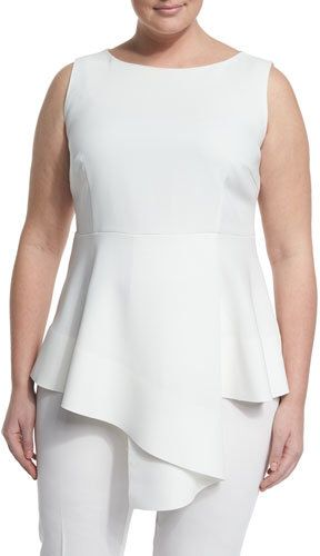 Marina Rinaldi Fioretto Belted Asymmetric Peplum Top W/ Attachable Sleeves, Plus Size