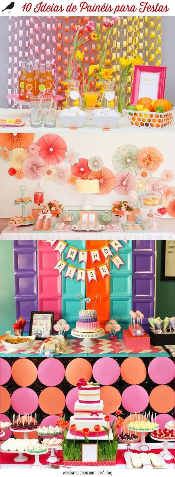 10 Ideias de Panéis Criativos para Festas feitos de papel, tecido, fitas e balões.