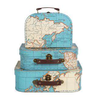 Pappkoffer Set  VINTAGE  MAP , 3-tlg Kinderkoffer Weltkarte
