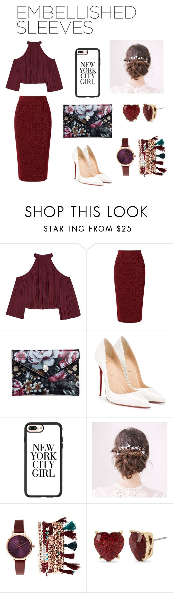 """""""embellished love"""" by sophia-degrandis ❤ liked on Polyvore featuring W118 by Walter Baker, Roland Mouret, Alexander McQueen, Christian Louboutin, Casetify, Jessica Carlyle and Betsey Johnson"""