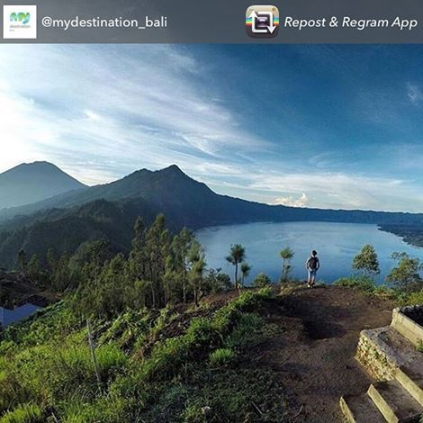 Repost from @mydestination_bali Stuning view from Puncak Songan at Kintamani village overlooking Mount and Lake Batur in Bali, Indonesia. ・・・