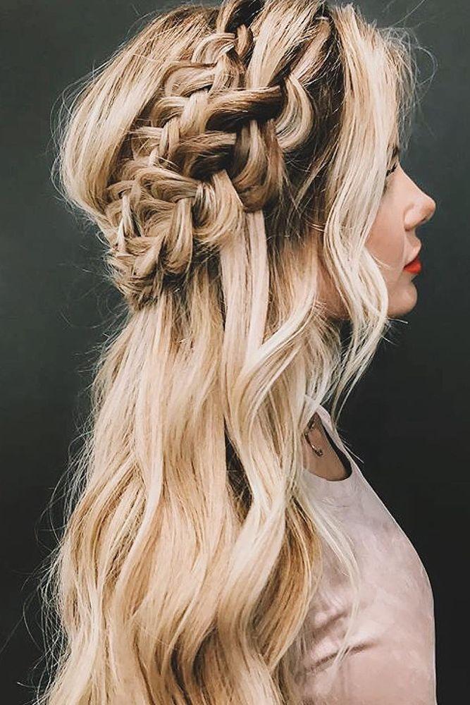 42 Boho Wedding Hairstyles For Tender Bride Braided Hairstyles For Wedding Medium Hair Styles Braided Hairstyles Easy