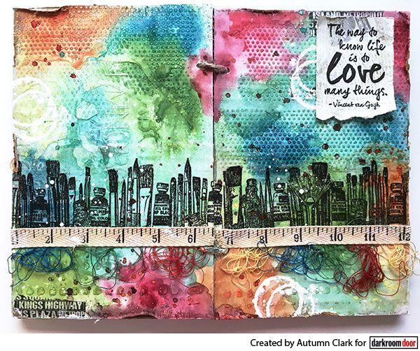 Art journal page by Autumn Clark using Darkroom Door Art Studio Border Stamp