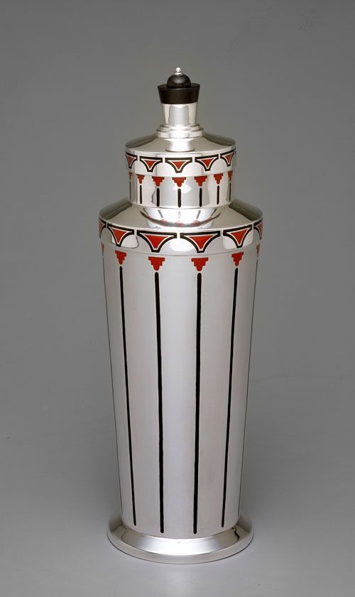 """Cocktail shaker, 1928, Charter Company, manufacturer, American, 1930-1942, International Silver Company, parent company, American, est. 1898, Sterling silver, wood; enameled; h. 14-1/32""""; diam. 5""""."""