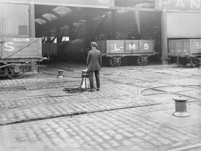 Capstan shunting railway wagons at Liverpool docks, 16 April 1926