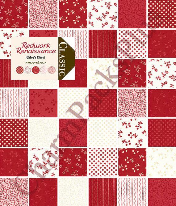 Redwork Renaissance Moda Charm Pack 42 Five Inch Quilt