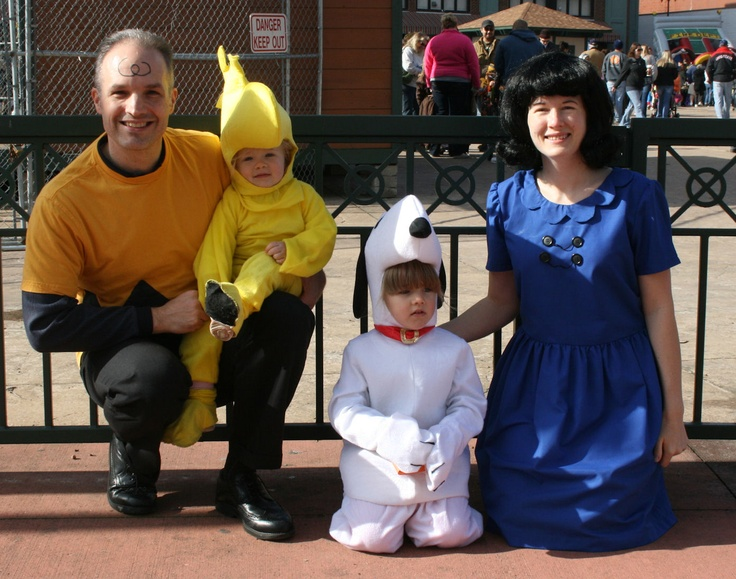 Our Charlie Brown, Lucy, Snoopy and Woodstock family costume 2011. Snoopy and Woodstock were purchased but Charlie Brown and Lucy were homemade.