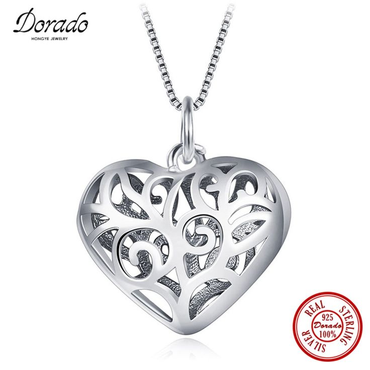 Dorado 925 Real Sterling Silver Classic Unique Design Hollow Heart Life Tree Pattern Pendant Necklace for Women Top Quality #Affiliate