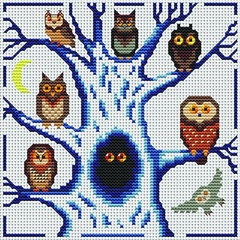 Cross Stitcher's Owl Club ... no color chart available, just use pattern chart as your color guide.. or choose your own colors...