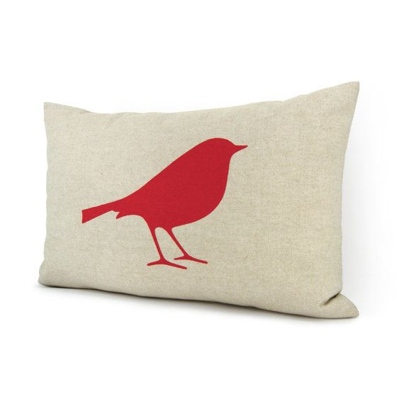 12x18 natural beige pillow cover with red bird print - Bird pillow cover - Love - Romantic - Cottage chic decorative pillow