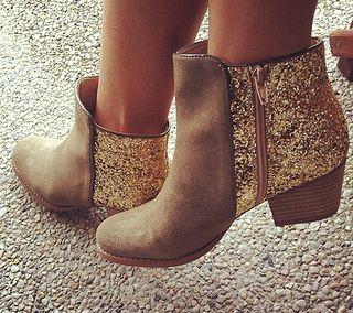 gold glitter heeled booties