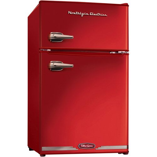 Nostalgia Electrics Retro Series 3.1-Cubic Foot Compact Refrigerator Freezer - Walmart.com  I REALLY want this in black before our next camping trip. We tent camp and our free time usually happens in 100+ degree temperatures when a Popsicle would really be refreshing after our hiking was done. Plus I could stop worrying about buying ice as often!