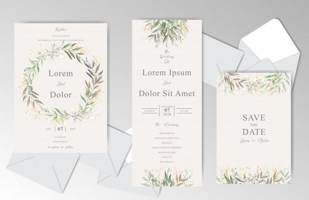 Elegant Watercolor Wedding Invitation Card Template With Beautiful