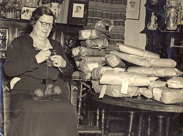 """Miss Ruby Grisdale, Hamilton Red Cross, knitting socks in her home """"Drungalee"""", Beamont Street Hamilton, NSW, Australia [c.1940's] by Cultural Collections, University of Newcastle, via Flickr"""