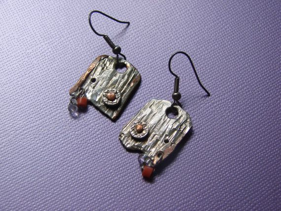 One of a kind Earrings hand hamered in sterling silver,natural red coral (Italy) SIZE : .2 cm x 1 cm Earrings hooks :silver925 solid Material:silver ,red coral  .