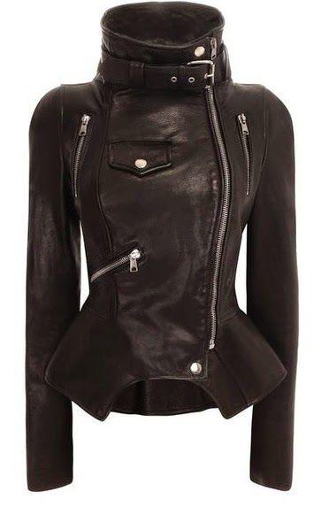 Black Leather Ladies Biker Jacket