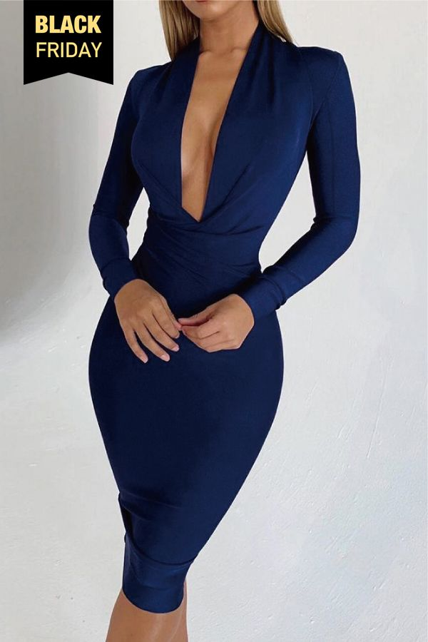 dabda0df3b9 Plunge Ruched Long Sleeve Party Dress