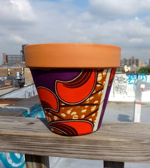 Passion Fruit - Color Love - Afro Jungle terracotta clay Pot- Graphic Floral Design. $20.00, via Etsy.