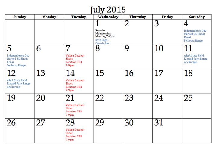 43 Best July 2015 Calendar Images On Pinterest Printable Stencils