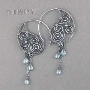 "Sabrinah's Art ""Thunderheads"" Blue Zircon and Sterling Silver Wire Wrapped Earrings"