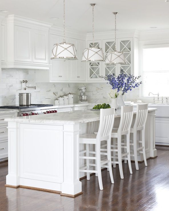 Cottage Kitchen with Kitchen island, Inset cabinets, High ceiling, Carrara White Marble Countertop, Pendant Light, L-shaped
