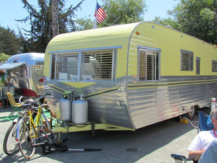 1954 yellow/silver is pretty AND in fab shape! (vintage Camper Trailers)