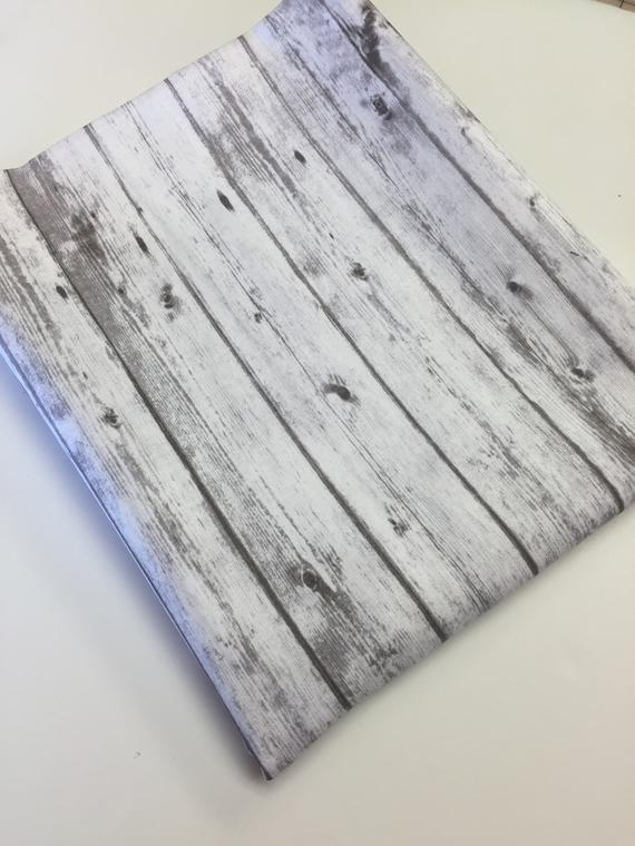 End of the Bolt 47″ Ship lap Fabric, Wood Print Fa…