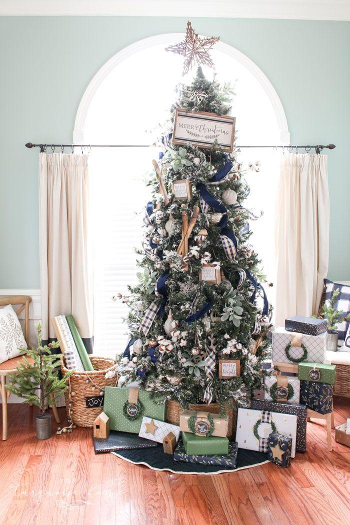 A Navy Green Farmhouse Christmas Tree The Turquoise Home Blue Christmas Decor Farmhouse Christmas Blue Christmas Tree