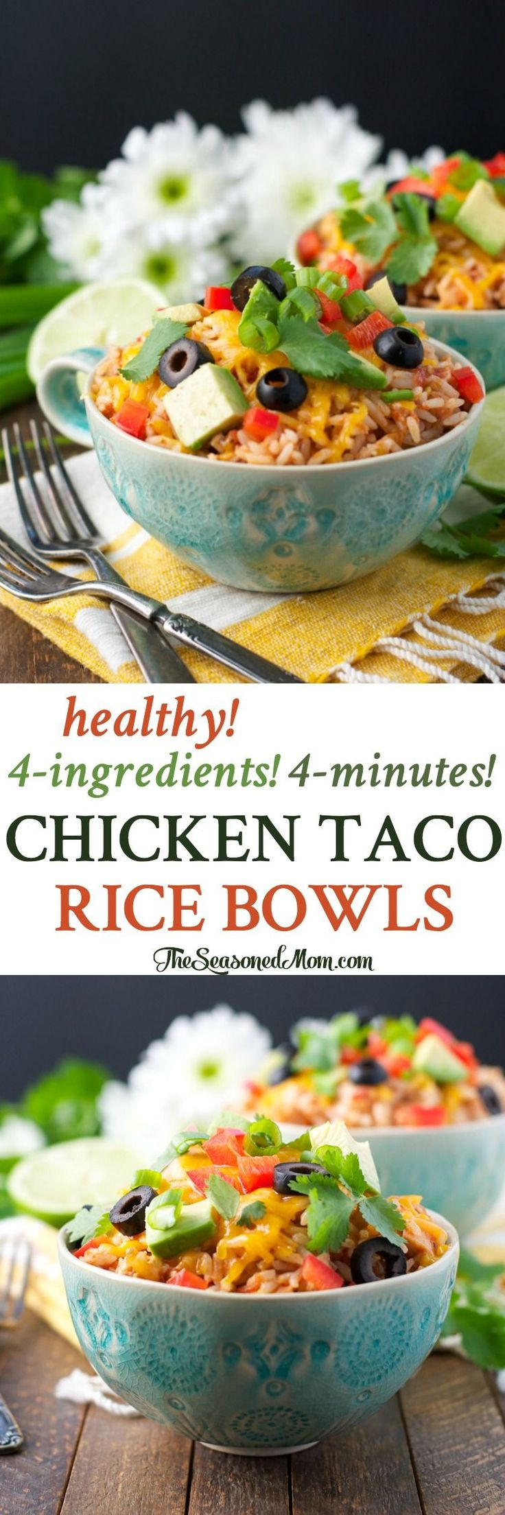 Healthy 4-Ingredient 4-Minute Chicken Taco Rice Bowls! Dinner Recipes | Dinner Ideas | Dinner | Dinner Recipes Easy | Lunch Ideas