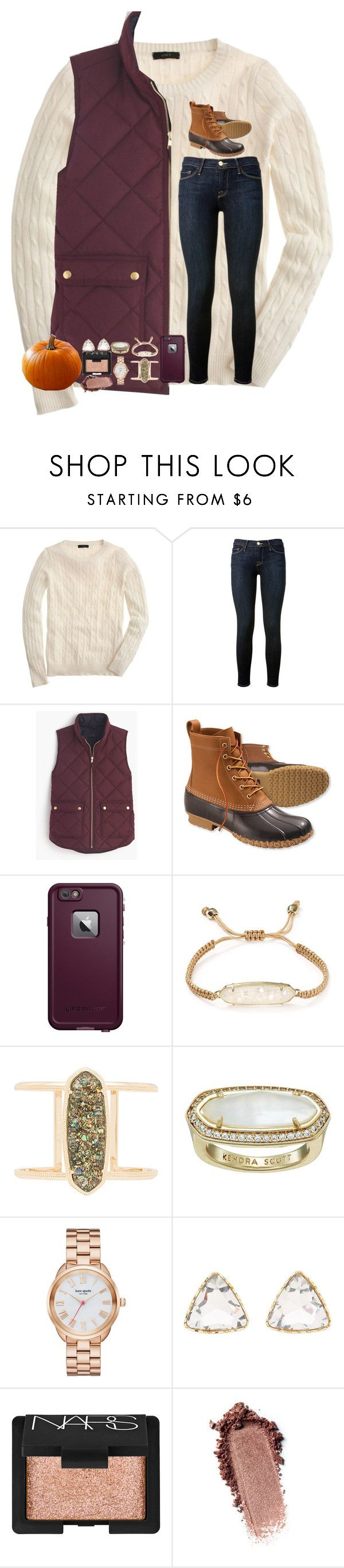 """""""Halloween Contest-Day 2-Pumpkin Patch"""" by tortor7 ❤ liked on Polyvore featuring J.Crew, Frame Denim, L.L.Bean, LifeProof, Kendra Scott, Kate Spade, Charlotte Russe, NARS Cosmetics and kennshalloweencontest"""
