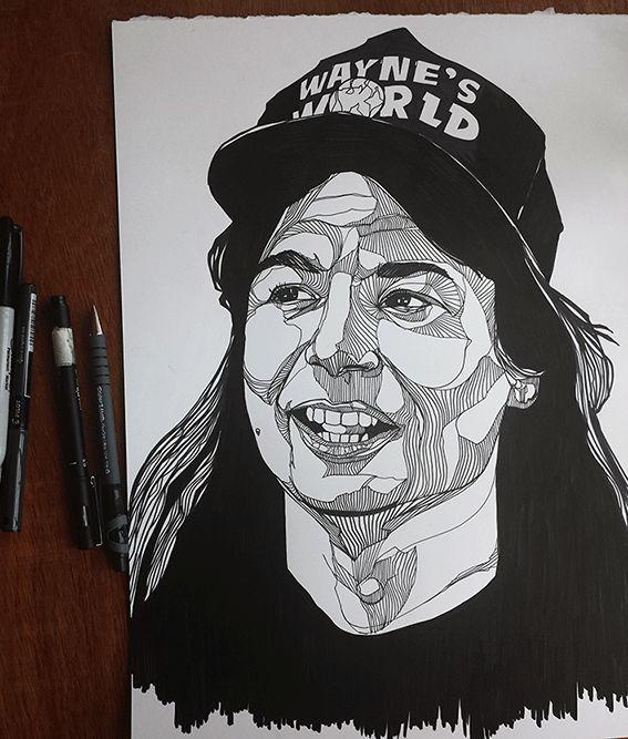WAYNE CAMPBELL // HAND DRAWN, INK // WAYNES WORLD // WWW.THEBEARHUG.COM