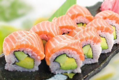 Avocado, cucumber, and salmon sushi