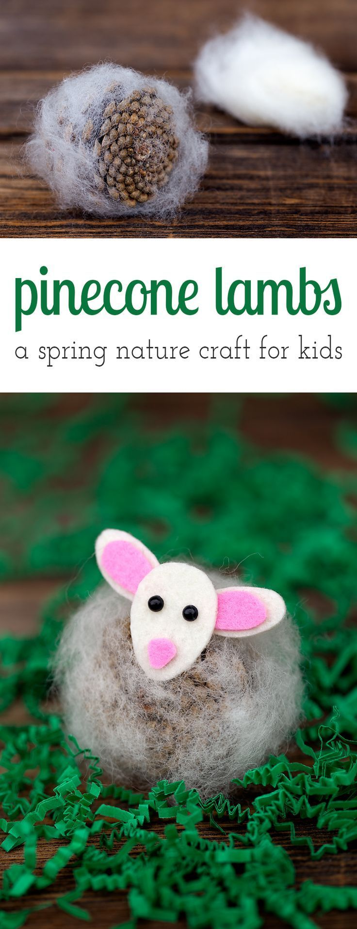 Pinecone Lambs are a creative, easy, and fun spring nature craft for kids. Made with pinecones, wool, felt, and kid-friendly craft supplies! via /https/://www.pinterest.com/fireflymudpie/
