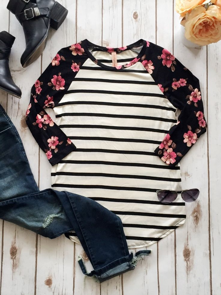 I love baseball tees! Lularoe has one---the Randy! Check out my shop to find your perfect baseball tee! #baseballtee #stripes #floral #stripesandfloral www.facebook.com/groups/ShopLuLaRoeNicoleCreech