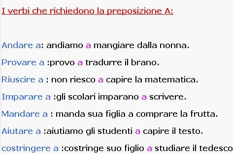 I verbi che richiedono la preposizione A: https://www.facebook.com/photo.php?fbid=400992129993674=a.255961111163444.59226.254983017927920=1 Italijanski online | Facebook