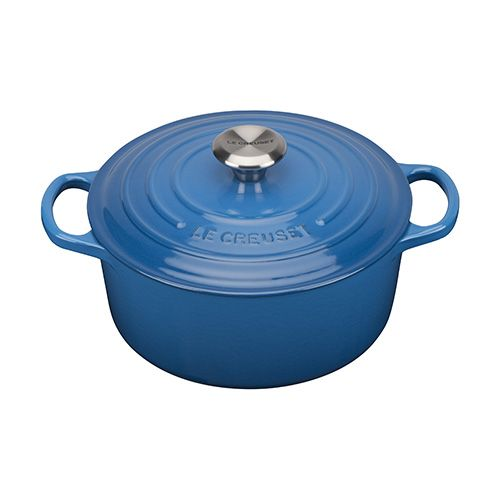 Le Creuset Cast Iron Signature Marseille Blue 24cm Round Casserole. Ideal for 4-5 people. Harts of Stur - £199.00