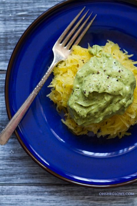 Creamy Avocado Spaghetti Squash Pasta + How To Roast Spaghetti Squash. I