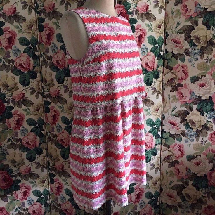 UK SIZE 12 WOMENS TOPSHOP RED PINK CREAM SUMMER DRESS #Topshop