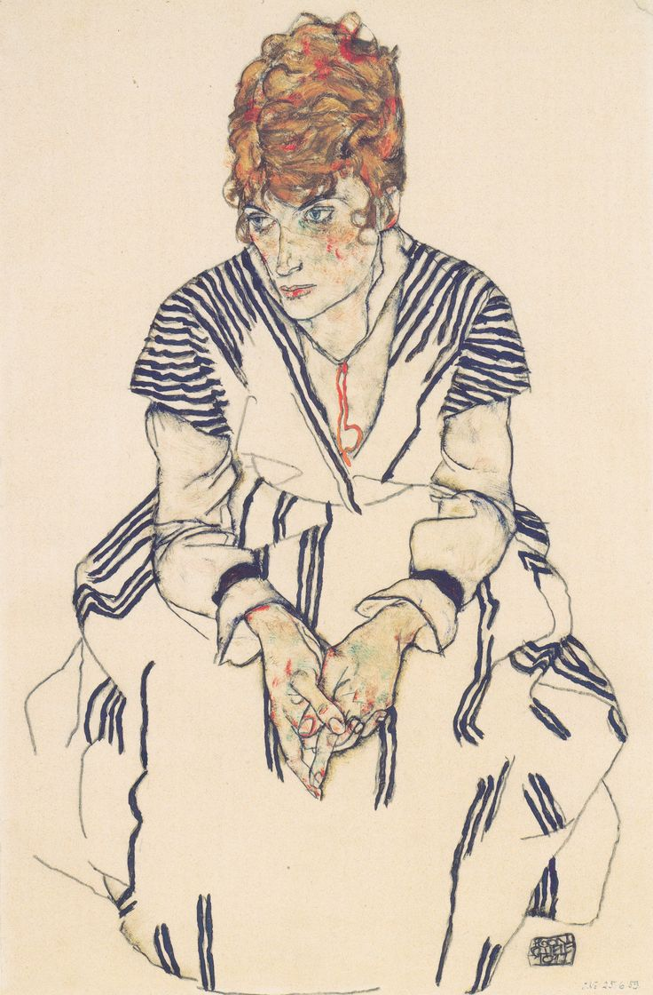 Egon Schiele, Portrait of his sister-in-law Adele Harms, drawing op Japanese paper, 1917, Albertina in Vienna.
