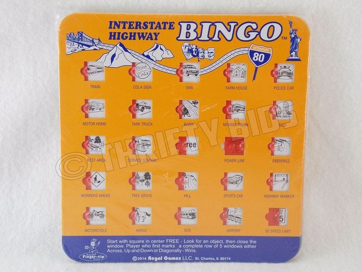 Interstate Highway Bingo Car Auto Travel  Fingertip Game 4 Pk 9172 Regal Games  #RegalGames