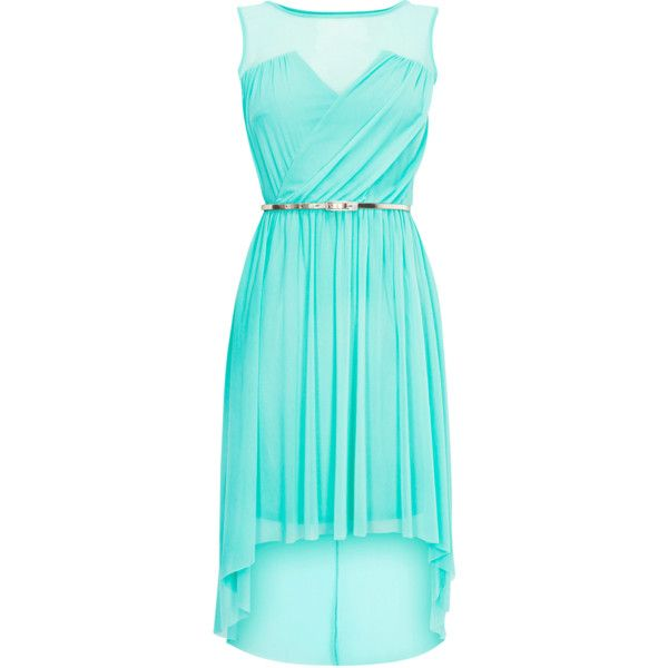 Loving this teal/turquoise Warehouse Mesh Dress with the high low hem.