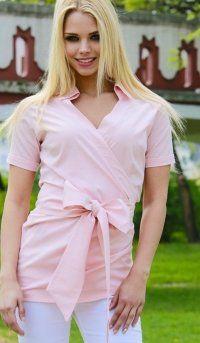 Rózsaszín színű ing, galléros, rövid ujjú, átlapolt felső, tunika,  nyári ruha
