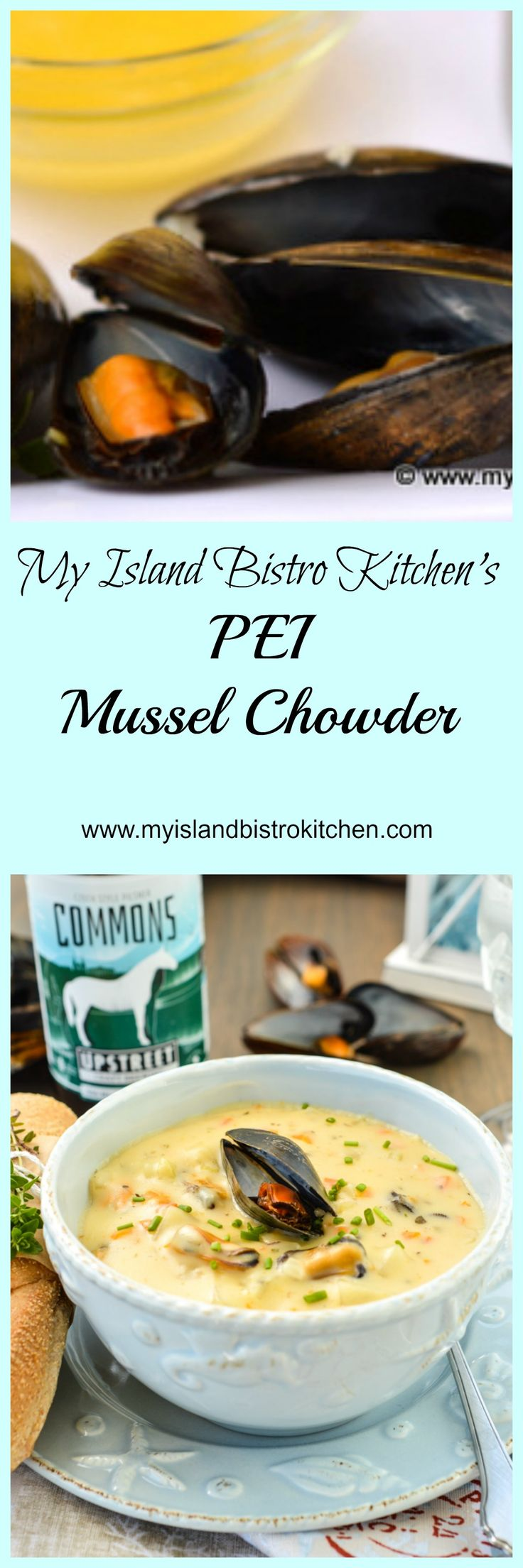 From the creator of My Island Bistro Kitchen food blog comes this delicious and luxuriously thick mussel chowder made with world-famous PEI mussels.